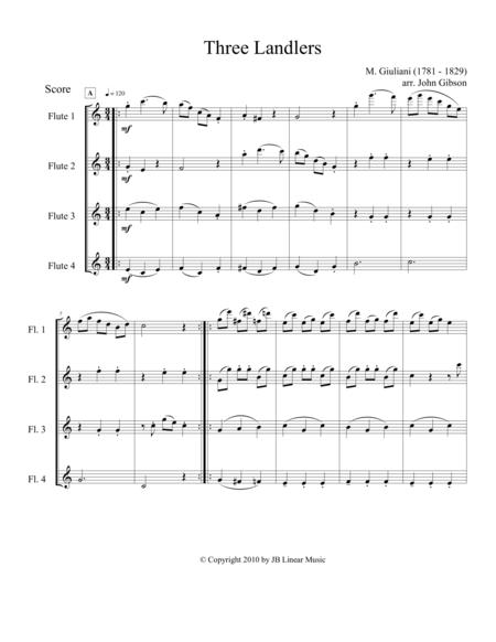 Three Landlers (Waltzes) for Flute Quartet