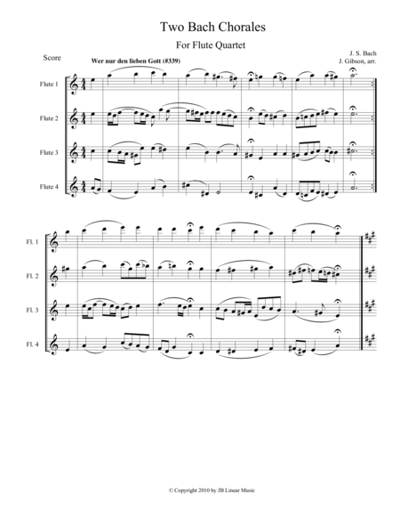 Two Bach Chorales for Flute Quartet