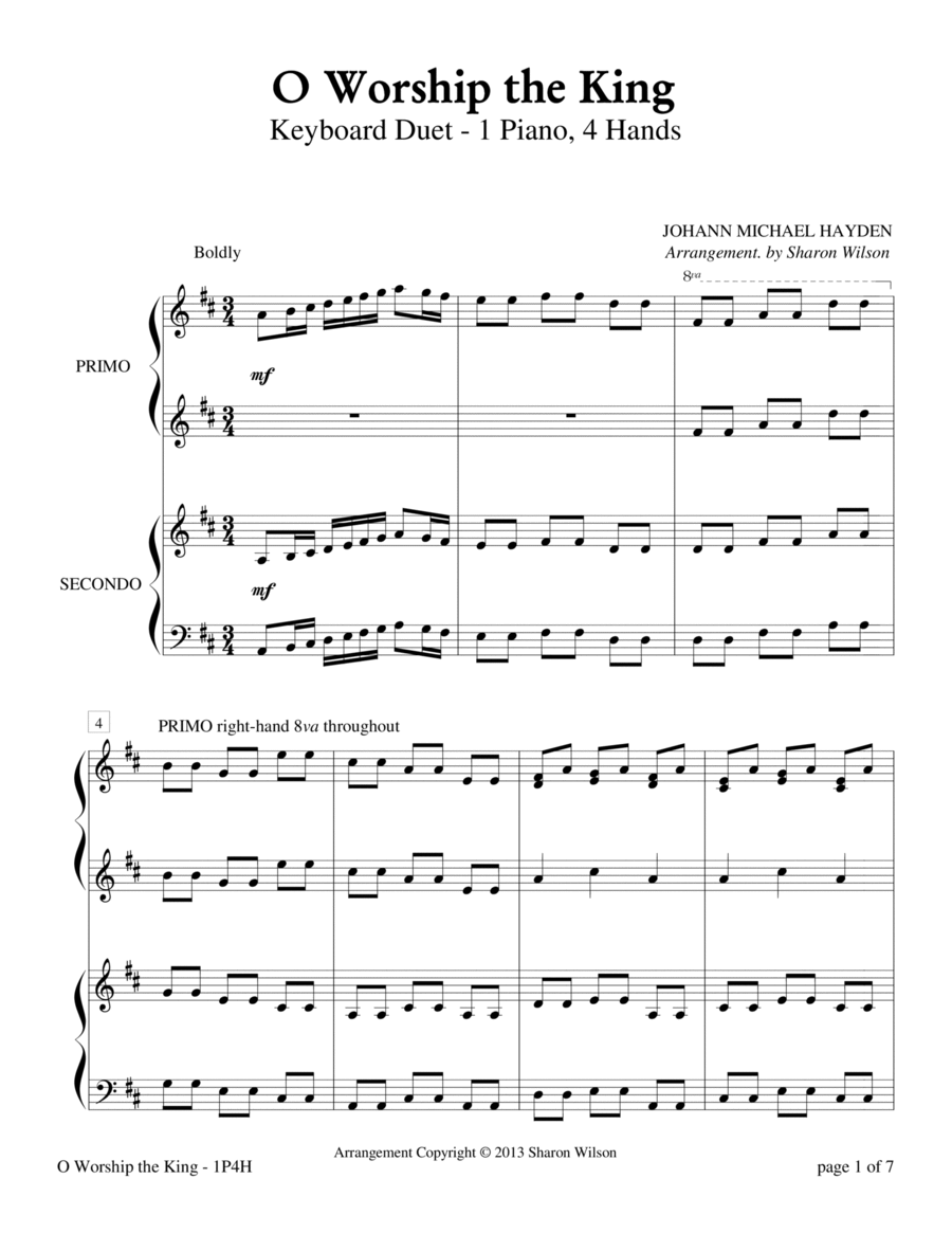 O Worship The King (1 Piano, 4 Hands)
