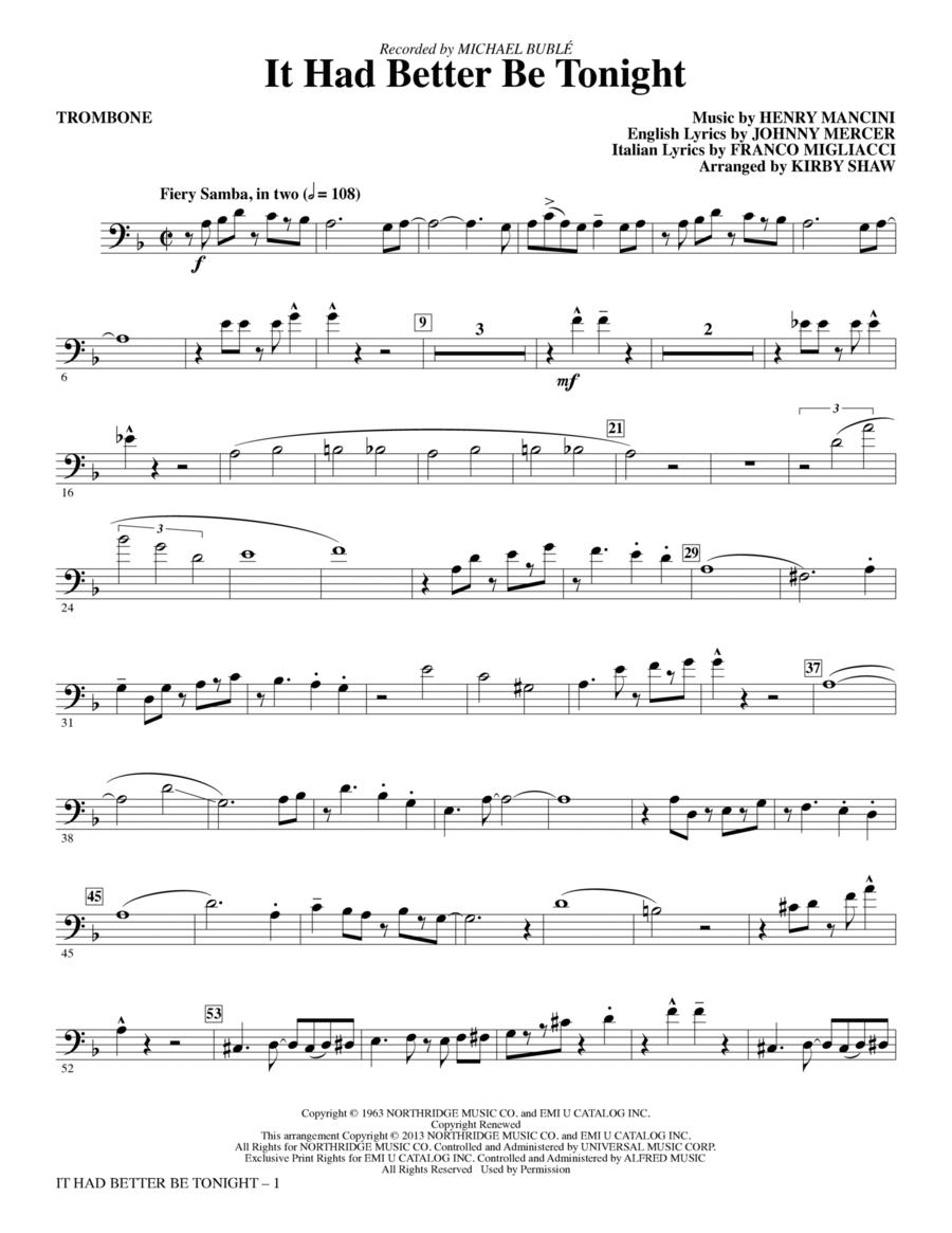 It Had Better Be Tonight - Trombone