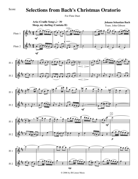 Bach's Christmas Oratorio Selections for Flute Duet