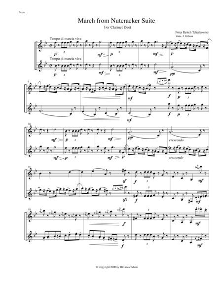 3 Pieces from The Nutcracker for Clarinet Duet