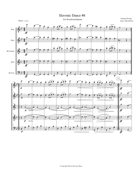 Dvorak Slavonic Dance #8 for Woodwind Quintet