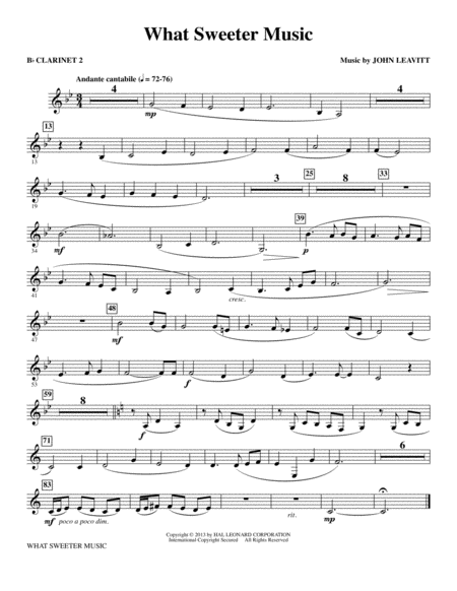 What Sweeter Music - Bb Clarinet 2