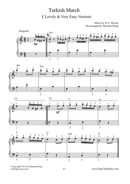 Download Turkish March (Mozart) - Very Easy Version Sheet ...