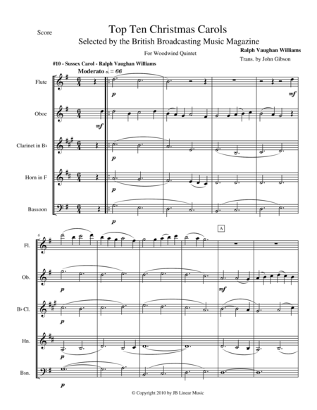 Sussex Carol by Vaughan Williams for Woodwind Quintet