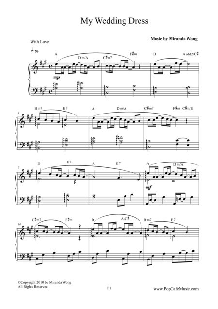 my wedding dress wedding piano music