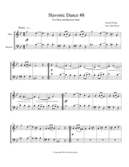 Dvorak Slavonic Dance #8 for Oboe and Bassoon Duet
