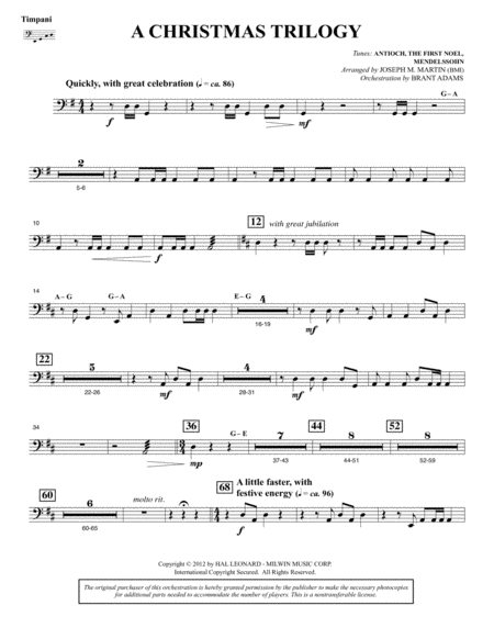 A Christmas Trilogy (from Carols For Choir And Congregation) - Timpani