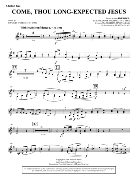 Come, Thou Long-Expected Jesus (from Carols For Choir And Congregation) - Bb Clarinet 1,2