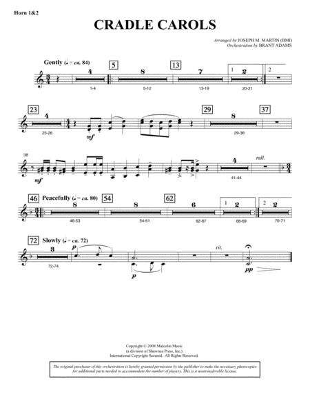 Cradle Carols (from Carols For Choir And Congregation) - F Horn 1,2
