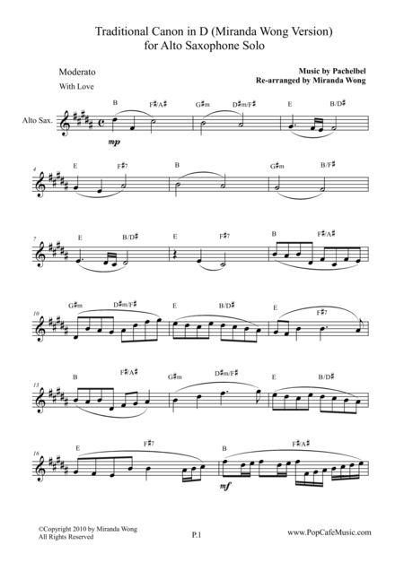 Traditional Canon in D - Alto Saxophone Solo