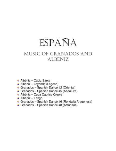 Espana, Music of Spain by Albeniz and Granados for flute duet
