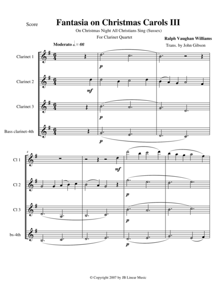 Vaughan Williams - Fantasia on Christmas Carols III for Clarinet Quartet