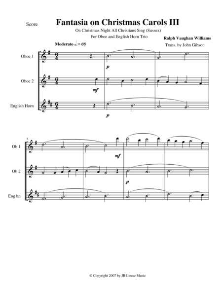 Vaughan Williams - Fantasia on Christmas Carols III for oboe trio