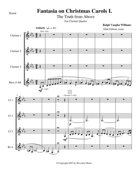 Vaughan Williams - Fantasia on Christmas Carols I for Clarinet Quartet