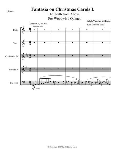 Vaughan Williams - Fantasia on Christmas Carols I for Woodwind Quintet