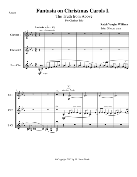 Vaughan Williams - Fantasia on Christmas Carols I for Clarinet Trio