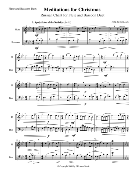 Meditations for Christmas, Russian Chant for Flute and Bassoon Duet