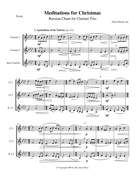 Meditations for Christmas, Russian Chant for Clarinet Trio