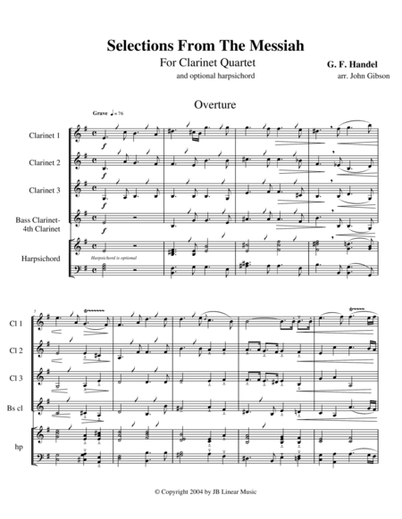 Handel's Messiah Selections for Clarinet Quartet