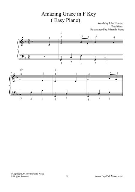 Amazing Grace in F Key - Easy Piano