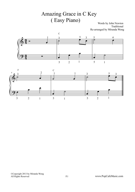 Amazing Grace in C Key - Easy Piano