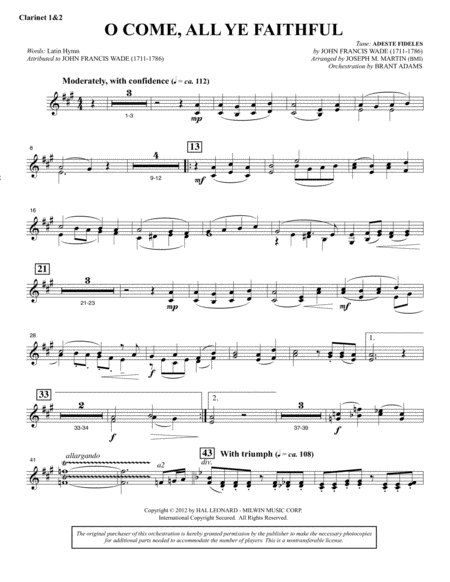 O Come, All Ye Faithful (from Carols For Choir And Congregation) - Bb Clarinet 1,2