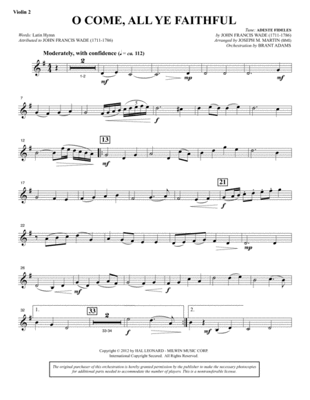 O Come, All Ye Faithful (from Carols For Choir And Congregation) - Violin 2