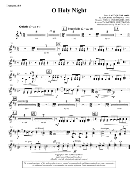 O Holy Night (from Carols For Choir And Congregation) - Bb Trumpet 2,3