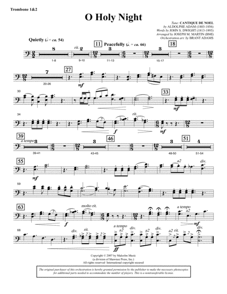 O Holy Night (from Carols For Choir And Congregation) - Trombone 1 & 2