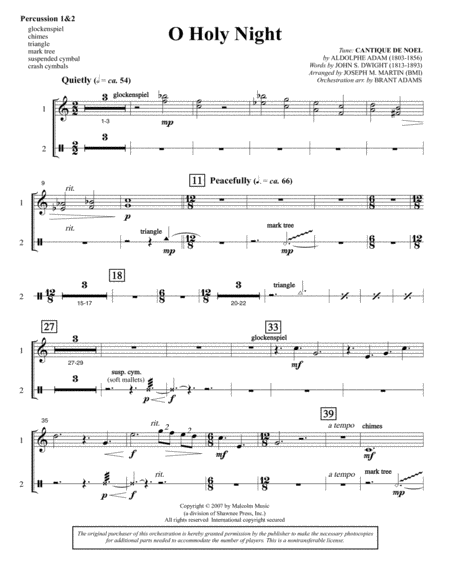 O Holy Night (from Carols For Choir And Congregation) - Percussion 1 & 2