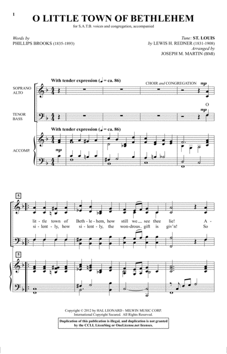 O Little Town Of Bethlehem (from Carols For Choir And Congregation)