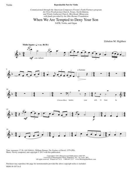 When We Are Tempted to Deny Your Son (Instrumental Parts)