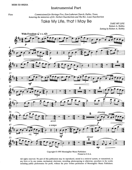 Take My Life, That I May Be (Flute Part)
