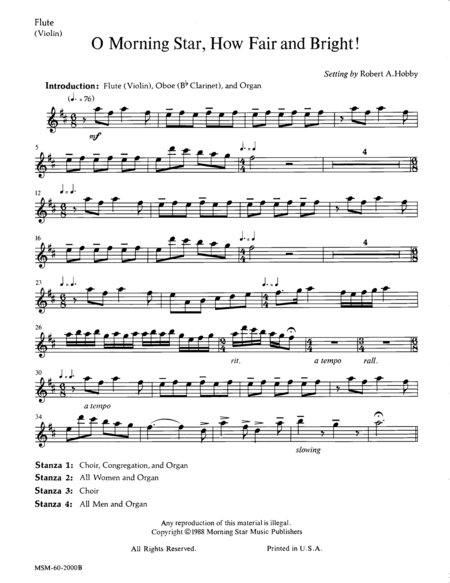O Morning Star, How Fair and Bright (Instrumental Parts)