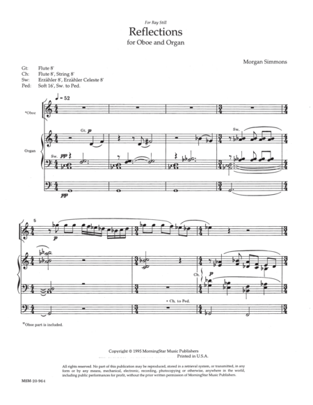 Reflections for Oboe and Organ