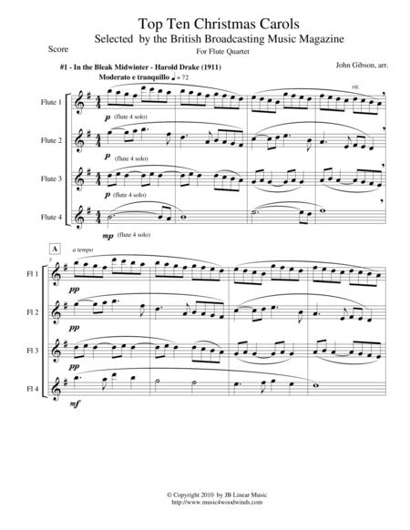 In The Bleak Midwinter for Flute Quartet