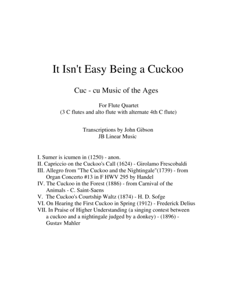 It Isn't Easy Being a Cuckoo for Flute Quartet