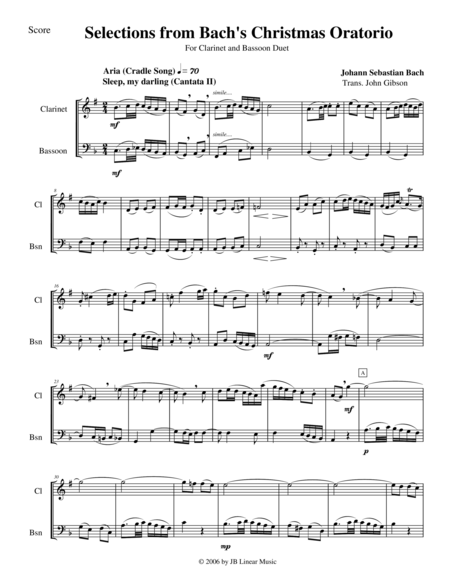 Bach's Christmas Oratorio Selections for Clarinet and Bassoon Duet