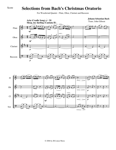 Bach's Christmas Oratorio Selections for Woodwind Quartet