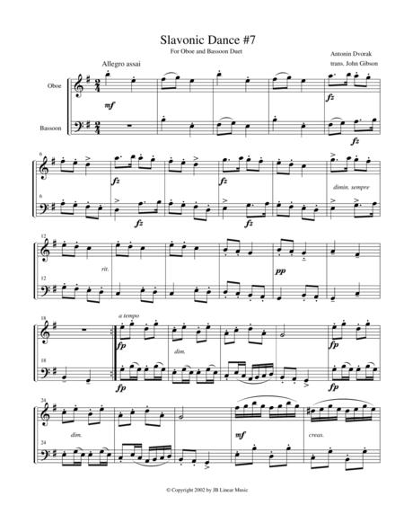 Dvorak Slavonic Dance #7 for oboe and bassoon duet