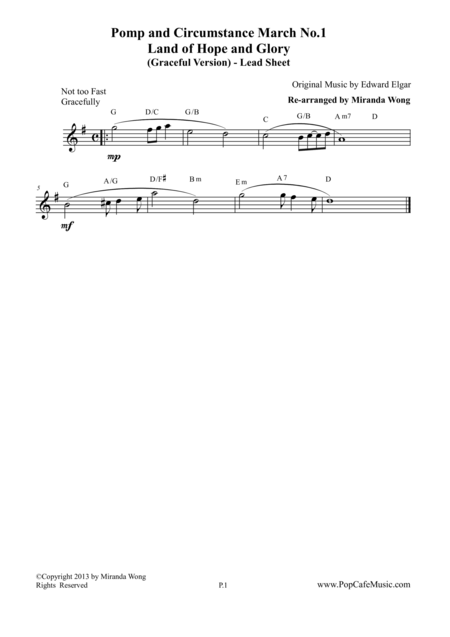Pomp and Circumstance March No.1 (Land of Hope and Glory) - Lead Sheet