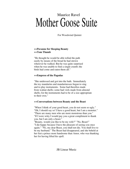 Ravel - Mother Goose Suite Selections for Woodwind Quintet