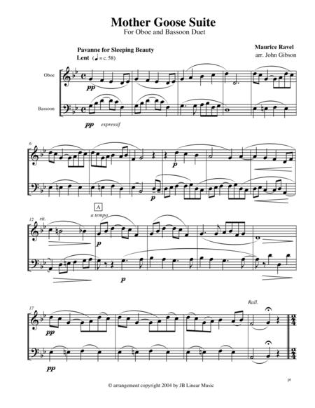Ravel - Mother Goose Suite Selections for Oboe and Bassoon Duet