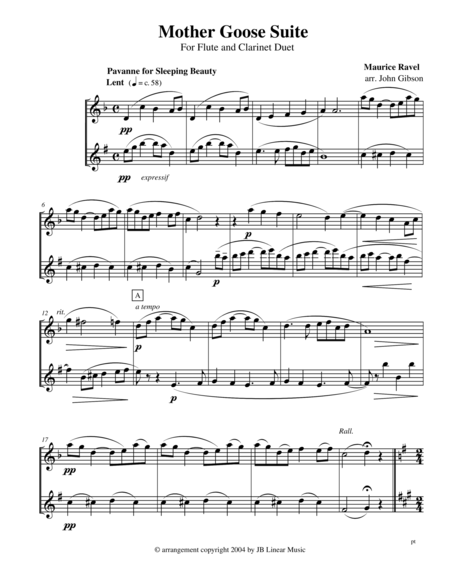 Ravel - Mother Goose Suite Selections for Flute and Clarinet Duet