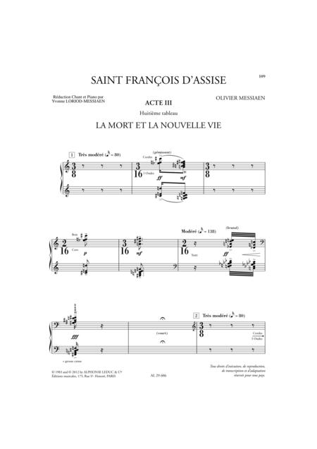 Saint Francois D'Assise - Acte 3/Tableaux 7-8/Volume 4/Chant et Piano
