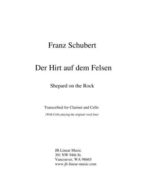 Schubert - Shepherd on the Rock for clarinet, cello, and piano trio
