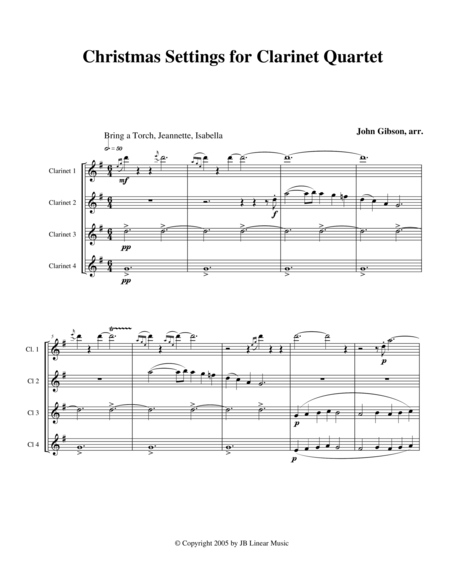 Christmas Settings for Clarinet Quartet