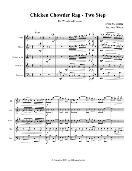 Chicken Chowder Rag by Irene Giblin for Woodwind Quintet